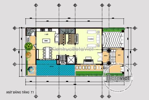 Mặt bằng tầng 1 mẫu thiết kế biệt thự kiểu Pháp 4 tầng đẹp (CĐT: Ông Hùng - Sài Gòn) KT17081:   by Công Ty CP Kiến Trúc và Xây Dựng Betaviet