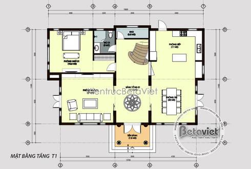 Mặt bằng tầng 1 mẫu thiết kế biệt thự đẹp 2 tầng theo phong cách Tân cổ điển châu Âu:   by Công Ty CP Kiến Trúc và Xây Dựng Betaviet