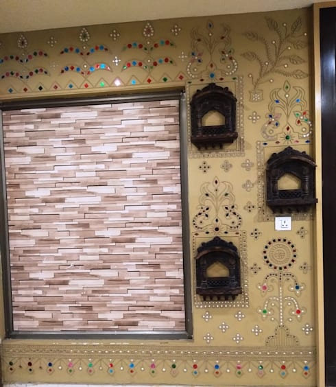 Mud Wall Paintings are one of the true Indian Traditional Painting wall Art work done by Inside Out Interior Ahmadabad Gujarat :  Walls by Inside Out Interior