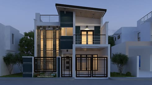 A proposed two storey residential building with a facade of mixed modern, contemporary: modern Houses by  ABG Architects and Builders