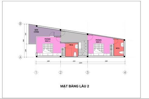 Bản vẽ mặt bằng lầu 2 nhà phố 4 tầng.:  Nhà gia đình by Công ty TNHH Thiết Kế Xây Dựng Song Phát