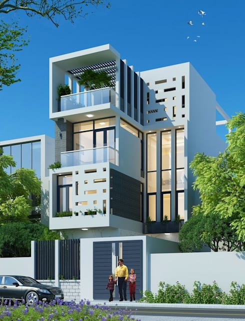 Nhà phố 4 tầng sang trọng với phong thái thanh lịch trong thiết kế.:  Nhà gia đình by Công ty TNHH Thiết Kế Xây Dựng Song Phát