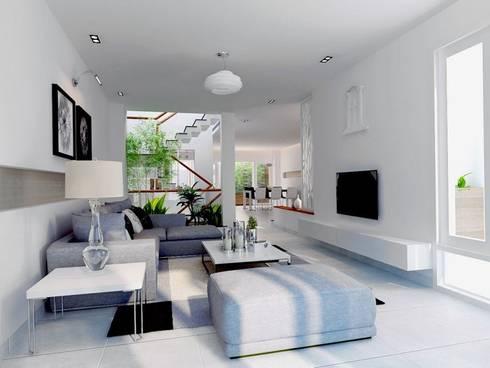 Gam màu chủ đạo mà gia chủ lựa chọn là màu trắng xám hiện đại.:  Phòng khách by Công ty TNHH Thiết Kế Xây Dựng Song Phát