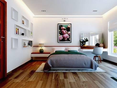 Việc sử dụng các vật liệu tự nhiên tạo khoảng không gian thoáng mát.:  Phòng ngủ by Công ty TNHH Thiết Kế Xây Dựng Song Phát