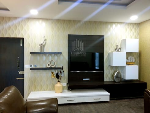 T.V Unit: modern Living room by TRIUMPH INTERIORS