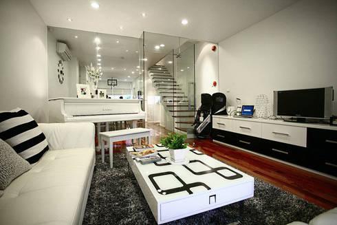 Đã Mắt Ngắm Mẫu Thiết Kế Nhà Phố Tuyệt Đẹp Trên Mảnh Đất 100m2:  Phòng khách by Công ty TNHH Xây Dựng TM – DV Song Phát