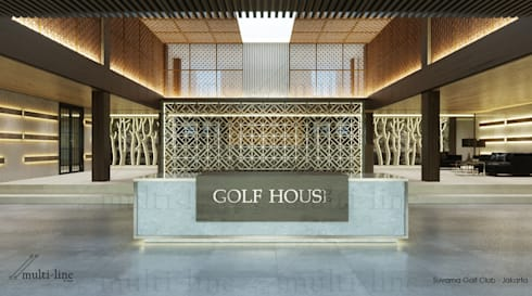 Suvarna Golf CLub House - Lobby:  Ruang Komersial by Multiline Design