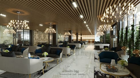 Suvarna Golf CLub House - Restaurant Area:  Ruang Komersial by Multiline Design