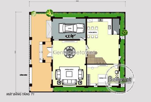 Mặt bằng tầng 1 mẫu biệt thự kiểu Pháp cổ điển 3 tầng ( CĐT: Ông Cương - Thanh Hóa) KT17071A:   by Công Ty CP Kiến Trúc và Xây Dựng Betaviet
