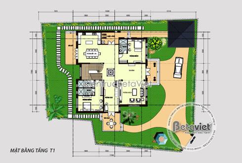 Mặt bằng tầng 1 mẫu biệt thự vườn châu Âu 2 tầng ( CĐT: Ông Công - Hà Tĩnh) KT17069A:   by Công Ty CP Kiến Trúc và Xây Dựng Betaviet