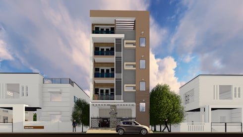 3D Elevation :  Multi-Family house by Cfolios Design And Construction Solutions Pvt Ltd