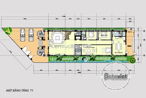 Mặt bằng tầng 1 mẫu biệt thự 3 tầng kiểu Pháp kết hợp Á Đông (CĐT: Ông Đạt - TP. Hạ Long) KT17102:   by Công Ty CP Kiến Trúc và Xây Dựng Betaviet