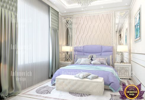 ​Fashionable interior designer in Los Angeles Katrina Antonovich: eclectic Bedroom by Luxury Antonovich Design