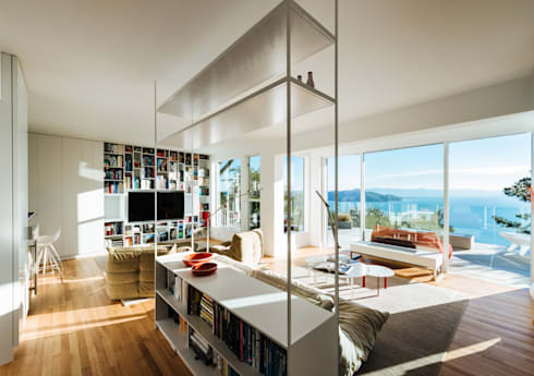 Sausalito Outlook: modern Living room by Feldman Architecture