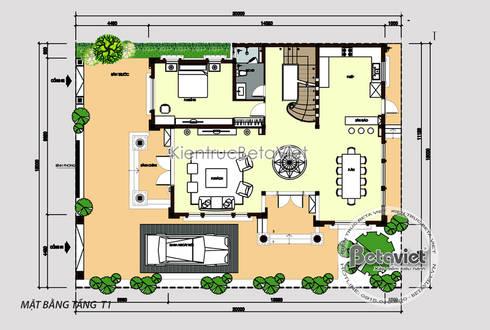 Mặt bằng tầng 1 mẫu thiết kế biệt thự 3 tầng đẹp Tân cổ điển có hầm nhà Ông Cường - Thái Nguyên ( KT17096):   by Công Ty CP Kiến Trúc và Xây Dựng Betaviet