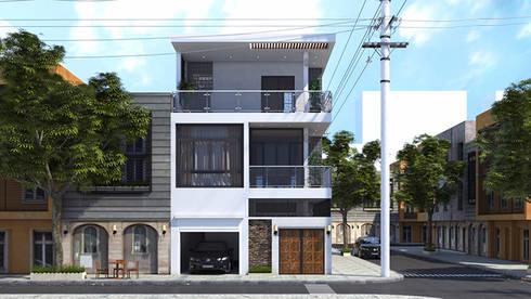 Nhà phố 2 mặt tiền đẹp hiện đại.:  Nhà gia đình by Công ty TNHH Thiết Kế Xây Dựng Song Phát