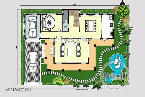 Mặt bằng tầng 1 mẫu thiết kế biệt thự hiện đại 3 tầng đẹp ( CĐT: Ông Hiệp - Ninh Bình) KT18009:   by Công Ty CP Kiến Trúc và Xây Dựng Betaviet