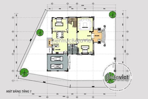 Mặt bằng tầng 1 mẫu thiết kế biệt thự 2 tầng Tân cổ điển châu Âu ( CĐT: Ông Bình - Thái Bình) KT17112:   by Công Ty CP Kiến Trúc và Xây Dựng Betaviet