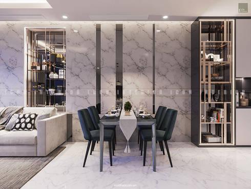 SẮC TRẮNG TRONG CĂN HỘ CHUNG CƯ CAO CẤP VINHOMES CENTRAL PARK:  Phòng ăn by ICON INTERIOR
