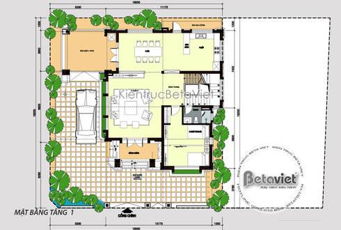 Mặt bằng tầng 1 mẫu thiết kế biệt thự phố 3 tầng Hiện đại đẹp ( CĐT: Ông Vũ - TP. Vinh) KT17108:   by Công Ty CP Kiến Trúc và Xây Dựng Betaviet