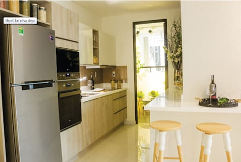 Sự tiện nghi trong sinh hoạt cho gia đình cùng với những món đồ nội thất thông minh.:  Phòng ăn by Công ty TNHH Thiết Kế Xây Dựng Song Phát