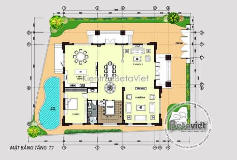 Mặt bằng tầng 1 mẫu biệt thự kiểu Pháp Tân cổ điển 3 tầng ( CĐT: Ông Hiếu - Hồ Chí Minh) KT17066:   by Công Ty CP Kiến Trúc và Xây Dựng Betaviet