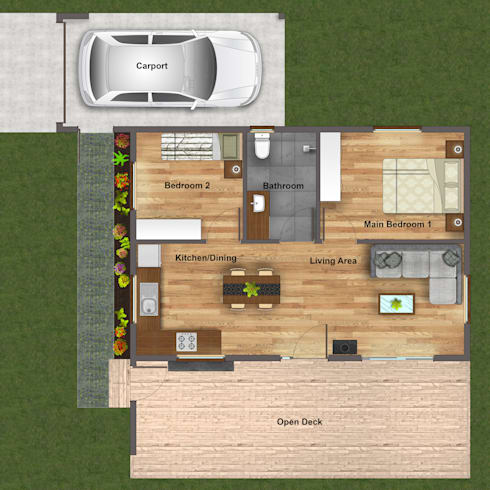 R660 015 (2 bedroom & 1 bathroom) Modular modern house—available to the local and export market.:   by Greenpods