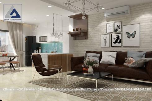 Thiết Kế Cải Tạo Căn Hộ 2 Phòng Ngủ – Tràng An Complex:  Phòng khách by Thiết Kế Nội Thất CDmax