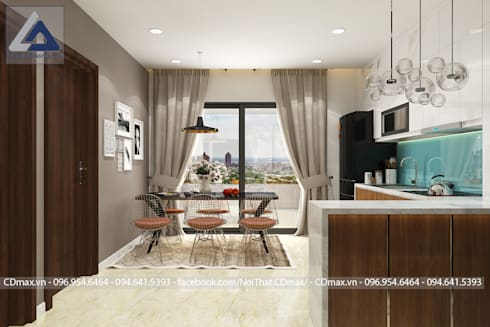 Thiết Kế Cải Tạo Căn Hộ 2 Phòng Ngủ – Tràng An Complex:  Bếp xây sẵn by Thiết Kế Nội Thất CDmax