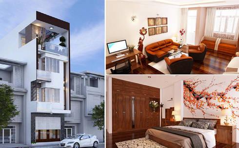Mẫu Thiết Kế Nhà Phố 4 Tầng 4,3x20m Kết Hợp Ở Và Kinh Doanh:  Nhà by Công ty TNHH Xây Dựng TM – DV Song Phát