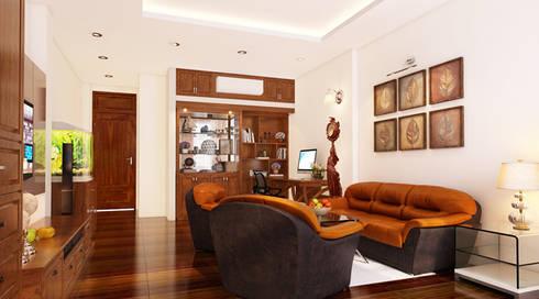 Mẫu Thiết Kế Nhà Phố 4 Tầng 4,3x20m Kết Hợp Ở Và Kinh Doanh:  Phòng khách by Công ty TNHH Xây Dựng TM – DV Song Phát