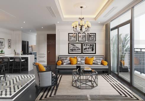 Thiết kế nội thất Vinhomes Central Park – Phong cách Đông Dương:  Phòng khách by ICON INTERIOR