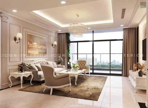 Thiết kế nội thất phong cách TÂN CỔ ĐIỂN cùng căn hộ Vinhomes Central Park:  Phòng khách by ICON INTERIOR