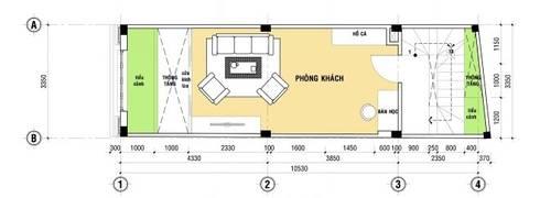 Bố trí mặt bằng thiết kế nhà ống 4 tầng:  Nhà gia đình by Công ty TNHH Xây Dựng TM – DV Song Phát