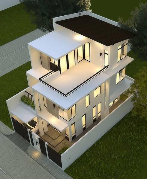 Mẫu nhà ống lệch tầng tầng đẹp – 01:  Nhà gia đình by Công ty TNHH Thiết Kế Xây Dựng Song Phát