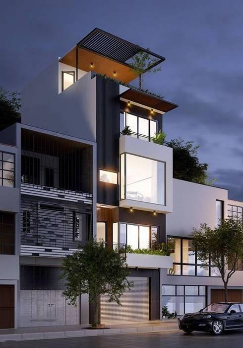 Mẫu nhà ống lệch tầng tầng đẹp – 03:  Nhà gia đình by Công ty TNHH Thiết Kế Xây Dựng Song Phát