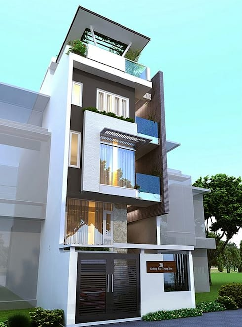 Mẫu nhà ống lệch tầng tầng đẹp – 04:  Nhà gia đình by Công ty TNHH Thiết Kế Xây Dựng Song Phát