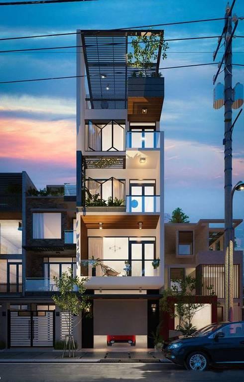 Mẫu nhà ống lệch tầng tầng đẹp – 05:  Nhà gia đình by Công ty TNHH Thiết Kế Xây Dựng Song Phát