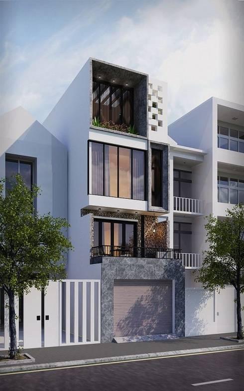Mẫu nhà ống lệch tầng tầng đẹp – 06:  Nhà gia đình by Công ty TNHH Thiết Kế Xây Dựng Song Phát