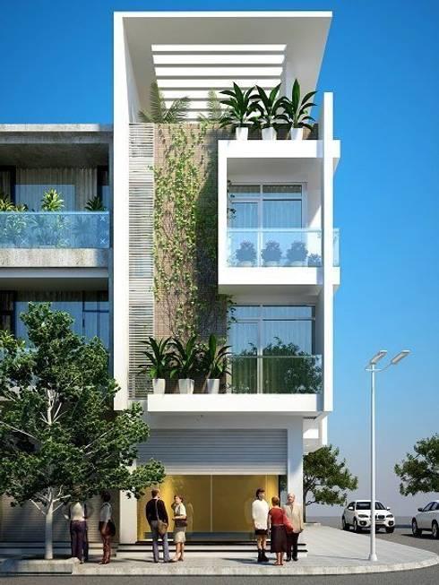 Mẫu nhà ống lệch tầng tầng đẹp – 08:  Nhà gia đình by Công ty TNHH Thiết Kế Xây Dựng Song Phát