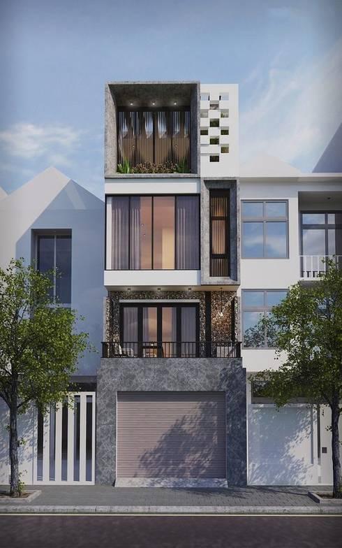 Mẫu nhà ống lệch tầng tầng đẹp – 09:  Nhà gia đình by Công ty TNHH Thiết Kế Xây Dựng Song Phát
