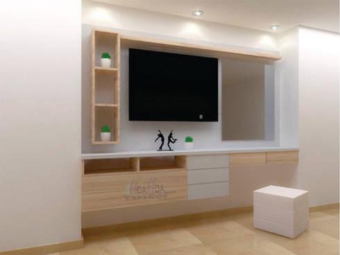 Tocador y Tv: Dormitorios de estilo  por HoaHoa Espacios SAS
