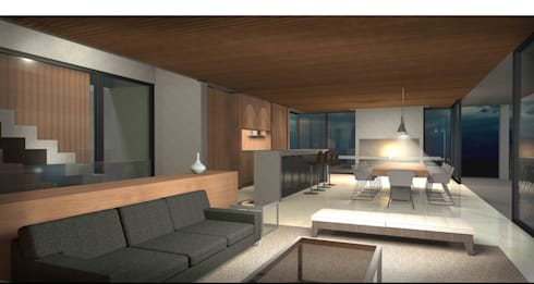 Casa Chicureo: Livings de estilo mediterraneo por Nicolas Loi + Arquitectos Asociados