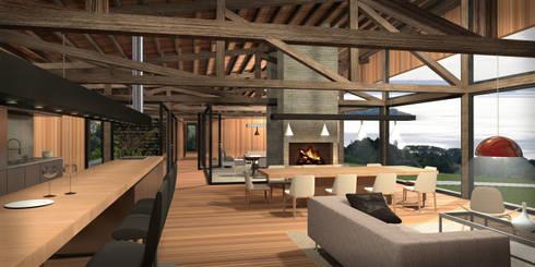 Casa Lago Ranco: Cocinas de estilo rústico por Nicolas Loi + Arquitectos Asociados