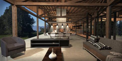 Casa Lago Ranco: Comedores de estilo mediterraneo por Nicolas Loi + Arquitectos Asociados