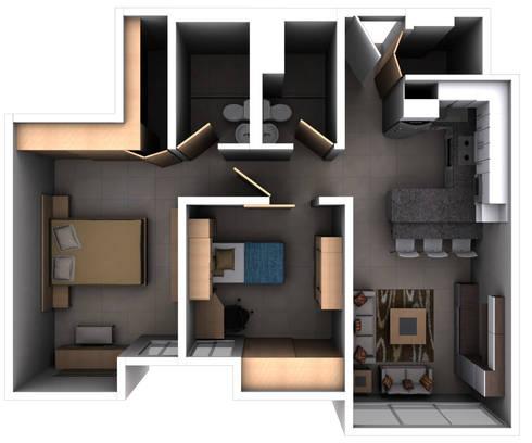 Remodelacion Interior Apartamento Caracas: Muebles de cocinas de estilo  por Arq. Barbara Bolivar