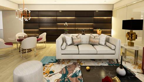 PROYECTO WA : Salas / recibidores de estilo moderno por Luis Escobar Interiorismo