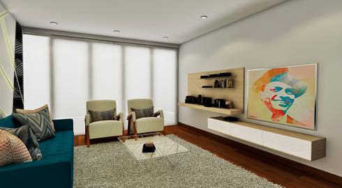 PROYECTO JG: Salas / recibidores de estilo moderno por Luis Escobar Interiorismo