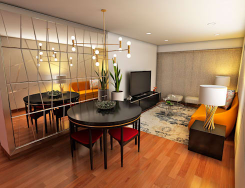 PROYECTO GA: Salas / recibidores de estilo moderno por Luis Escobar Interiorismo