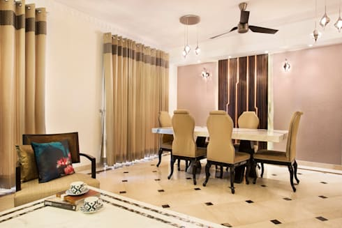 CENTRAL PARK RESORT APARTMENT, GURGAON: eclectic Dining room by Total Interiors Solutions Pvt. ltd.